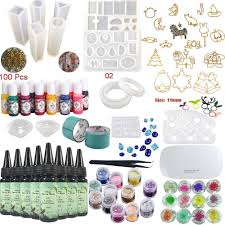 Uv Light Glue Kit Epoxy Resin Uv Glue Kit Crystal Clear Transparent With Lamp Tweezers 36 Decorations 13 Silicone Moulds 13 Colour Liquid Pigments 17 Bezels For