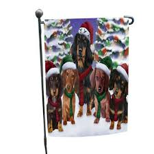 dachshunds dog family portrait holiday scenic background garden flag