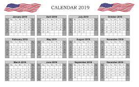 Calendar Year 2019 Printable Calendar Year 2019 United States Printable 2019 Calendar No