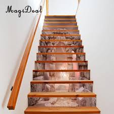 Stairway Wallpaper Design Us 23 05 13 Off 13pcs 3d Diy Tile Stairs Stickers Removable Waterproof Wallpaper Stickers Self Adhesive Stair Riser For Stairway Or Home Decor In