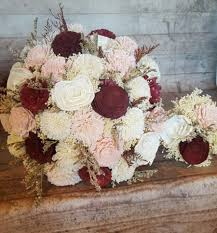 burdy cabernet and blush wedding sola flowers and dried flowers bride or bridesmaid keepsake balsa wood flowers bouquets marsala wine