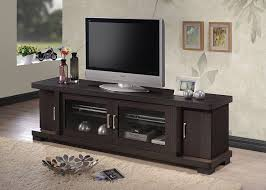 dark wood tv stand. Interesting Dark Amazoncom Baxton Studio Wholesale Interiors Viveka Dark Brown Wood TV  Cabinet With 2 Glass Doors And Doors 70 In Tv Stand Z