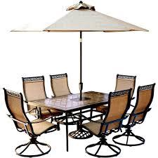 Hanover Monaco 7 Piece Outdoor Dining Set with Rectangular Tile Top