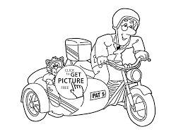 Small Picture Postman Pat in tricycle coloring pages for kids printable free