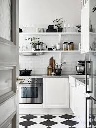 Impressive Black And White Tile Floor Kitchen Nordic Scandinavian Eclectic Interior Design Dining For Ideas