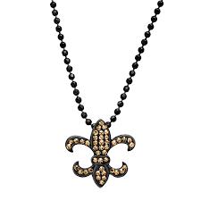 fleur de lis pendant with swarovski crystals