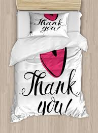 luxury thank you 2 piece bedding set twin size heart in bold outline linear hand drawn doodle scribble love memo thankful 2pcs duvet cover set with 1