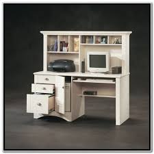 sauder harbor view computer desk with hutch antiqued white