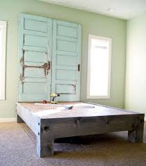 recycling old wooden doors vine blue bed headboard diy project