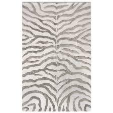 quickship hand tufted plush zebra rug grey 9 6 x 13 6 from