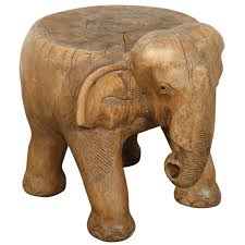 elephant stool hand carved wood for