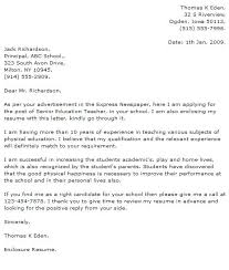Experienced Teacher Cover Letters Cover Letter Examples For Education Teacher Cover Letter Examples