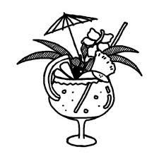 トロピカルドリンク夏の食べ物夏のイラスト無料白黒イラスト素材
