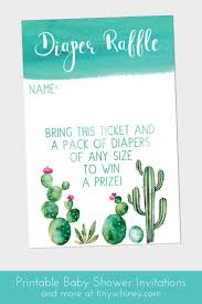 best ideas about raffle tickets printable raffle cactus baby shower invitations diaper raffle ticket printable baby shower stationery