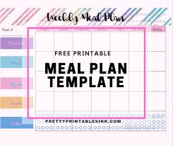 Free Printable Meal Plan Template Freebie Friday Meal Plan It Out Pretty Printables Ink