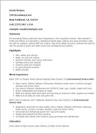 Resume Templates: Environmental Service Aide