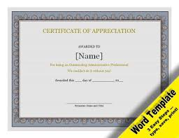 Awards Template Word Custom Certificate Of Appreciation Editable Word Template Etsy