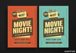 Free Movie Night Flyer Templates Retro Movie Night Flyer Layout Buy This Stock Template And