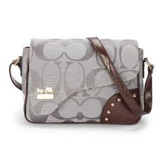 Coach Stud In Signature Medium Grey Crossbody Bags AYV Outlet Online