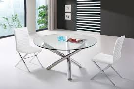 Glass Dining Table Round Round Glass Dining Table Set Black Leather Chair Beige Rug Fruit