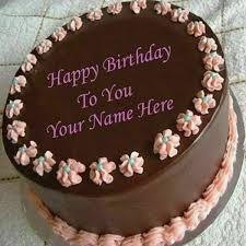 Chocolate Heart Birthday Cake Name Editing Online