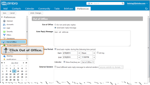 Automatic Respond Creating An Out Of Office Message Zimbra Tech Center