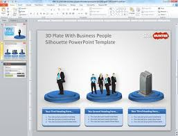 Company Presentation Template Ppt Free 3d Plate With Business People Sillhoutte Powerpoint