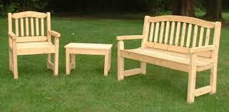 cypress bench chair and table on lawn