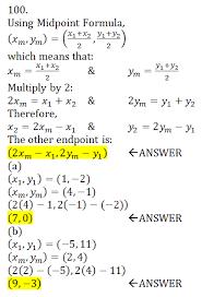 Endpoint Formula A Line Segment Has Math X_1 Y_1 Math As One Endpoint