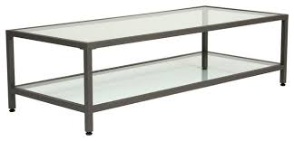 camber rectangle coffee table pewter and clear glass