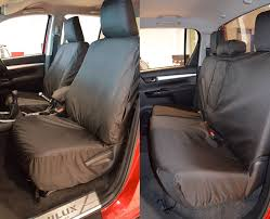toyota hilux 2016 on front and rear tailored seat covers in black for icon invincible invicible x only