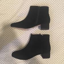 Clarks Chartli Lilac Black Suede Ankle Booties Nwt