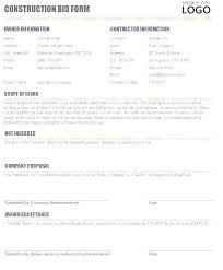 Sample Bid Proposal Template Sample Bid Proposal Template Free Construction Bids Best