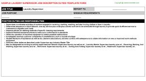 Laundry Supervisor Job Description Duties