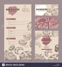 Set Of Bakery Shop Templates With Menu Visit Cards And Reserved