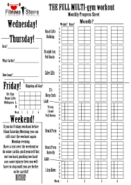 work out sheet for the gym multi gym workout fitness 1st steps
