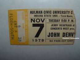 Hulman Civic Center Seating Chart Details About John Denver Concert Ticket Stub 1978 Hulman Center Isu Terre Haute Very Rare