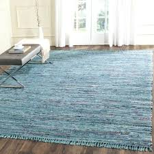 hand woven rag rug blue multi cotton square rugs 4x4