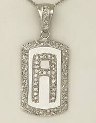 14k white gold 2 1 2ct round diamond pave letter a initial dog tag pendant 2 62