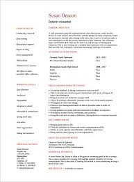 Student Internship Resume Template Intern Resume Example Resume