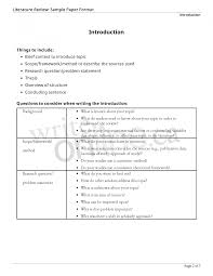 Example Of Literature Review In Research Paper Proof Working