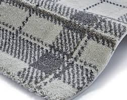 wellness 6630 cream light grey tartan rug