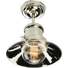edison semi flush fitting industrial nautical style ceiling light nickel