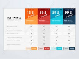 Pricing Template For Services Pricing Table Vector Template Template With Four Pricing Types