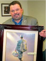 the late thomas kinkade with one of his paintings the company he started has just