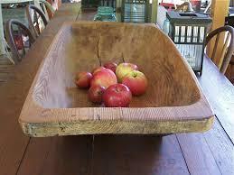 large antique norwegian wood dough bowl