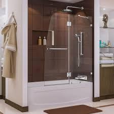 dreamline aqua lux 48 in x 58 in frameless pivot tub shower door