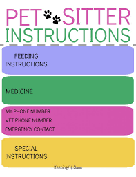 Pet Sitting Instructions Template To Do Printable Keeping Life Sane