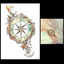 compass design 1 sheet temporary tattoo anchor star bird flower compass design