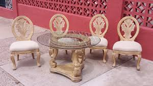 Schnadig Bedroom Furniture Schnadig Empire Round Pedestal Dining Table W Glass Top And 4